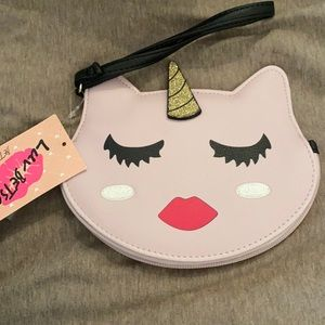 NWT Betsey Johnson unicorn cat clutch wristlet
